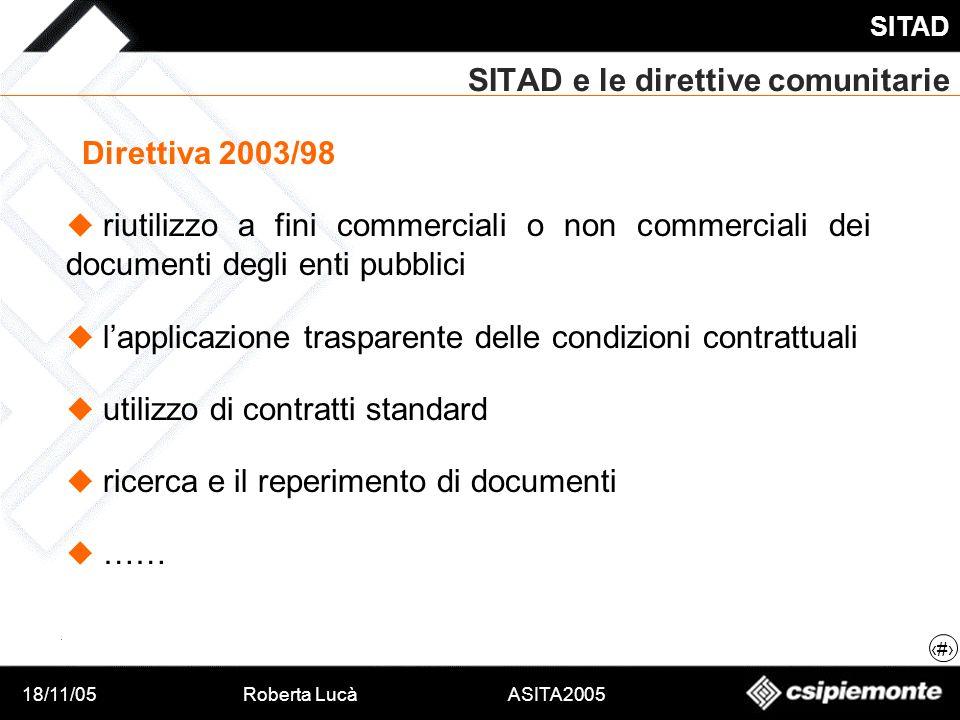 18/11/05Roberta Lucà ASITA2005 SITAD 13 SITAD e le direttive comunitarie Direttiva 2003/98 riutilizzo a fini commerciali o non commerciali dei documen