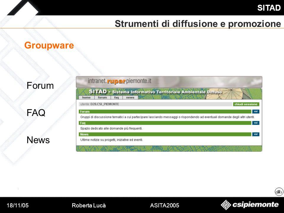 18/11/05Roberta Lucà ASITA2005 SITAD 16 Strumenti di diffusione e promozione Groupware Forum FAQ News