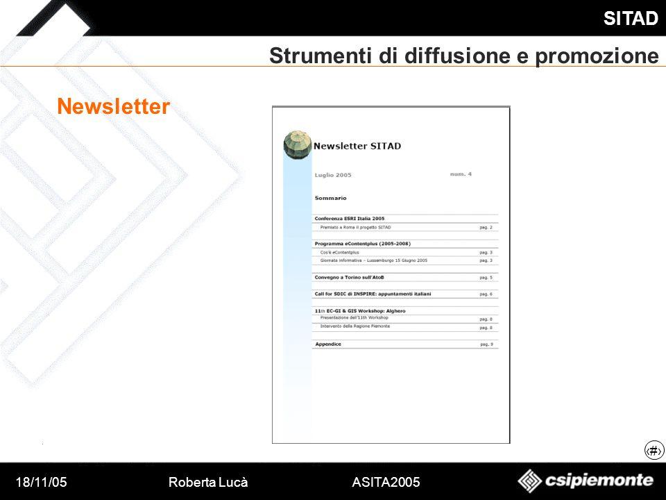 18/11/05Roberta Lucà ASITA2005 SITAD 17 Strumenti di diffusione e promozione Newsletter