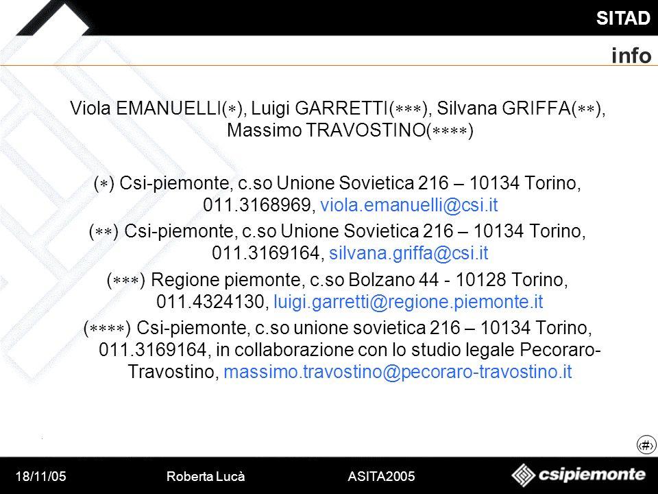 18/11/05Roberta Lucà ASITA2005 SITAD 19 info Viola EMANUELLI( ), Luigi GARRETTI( ), Silvana GRIFFA( ), Massimo TRAVOSTINO( ) ( ) Csi-piemonte, c.so Un