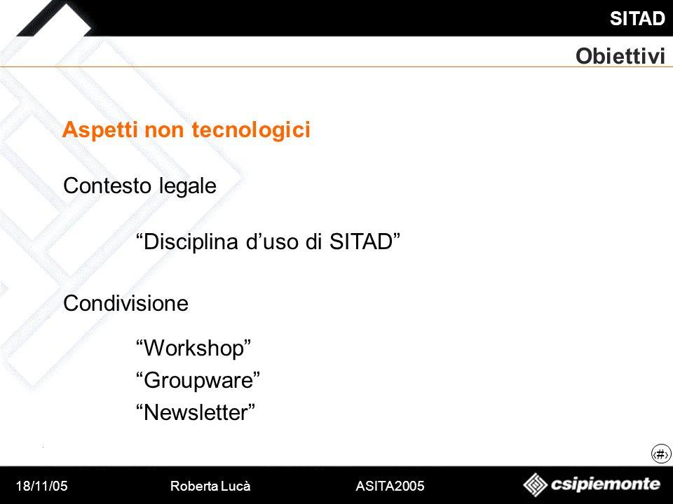18/11/05Roberta Lucà ASITA2005 SITAD 6 Obiettivi Aspetti non tecnologici Contesto legale Condivisione Disciplina duso di SITAD Workshop Groupware News