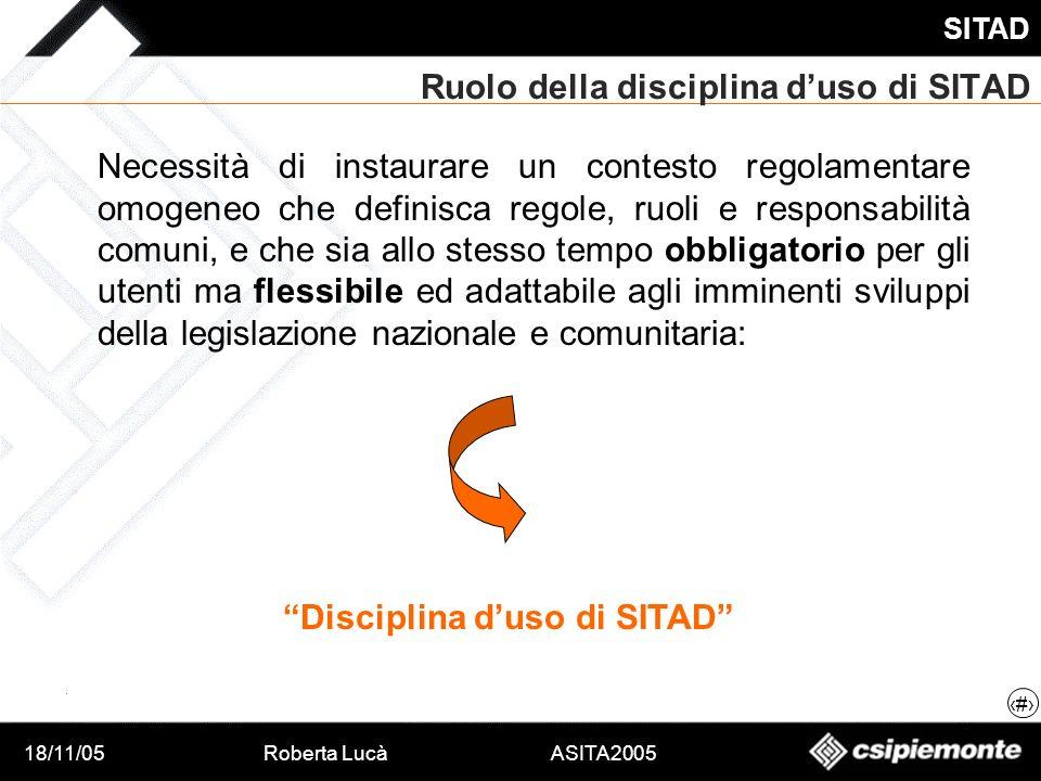 18/11/05Roberta Lucà ASITA2005 SITAD 7 Ruolo della disciplina duso di SITAD Necessità di instaurare un contesto regolamentare omogeneo che definisca r