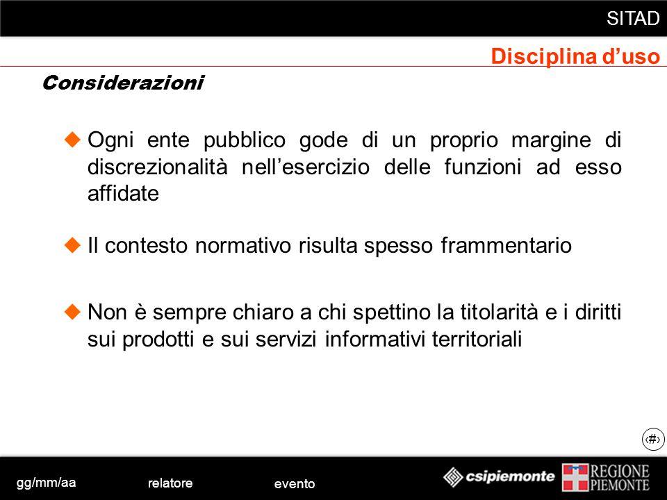 gg/mm/aa relatore evento SITAD 11 Considerazioni Disciplina duso Ogni ente pubblico gode di un proprio margine di discrezionalità nellesercizio delle