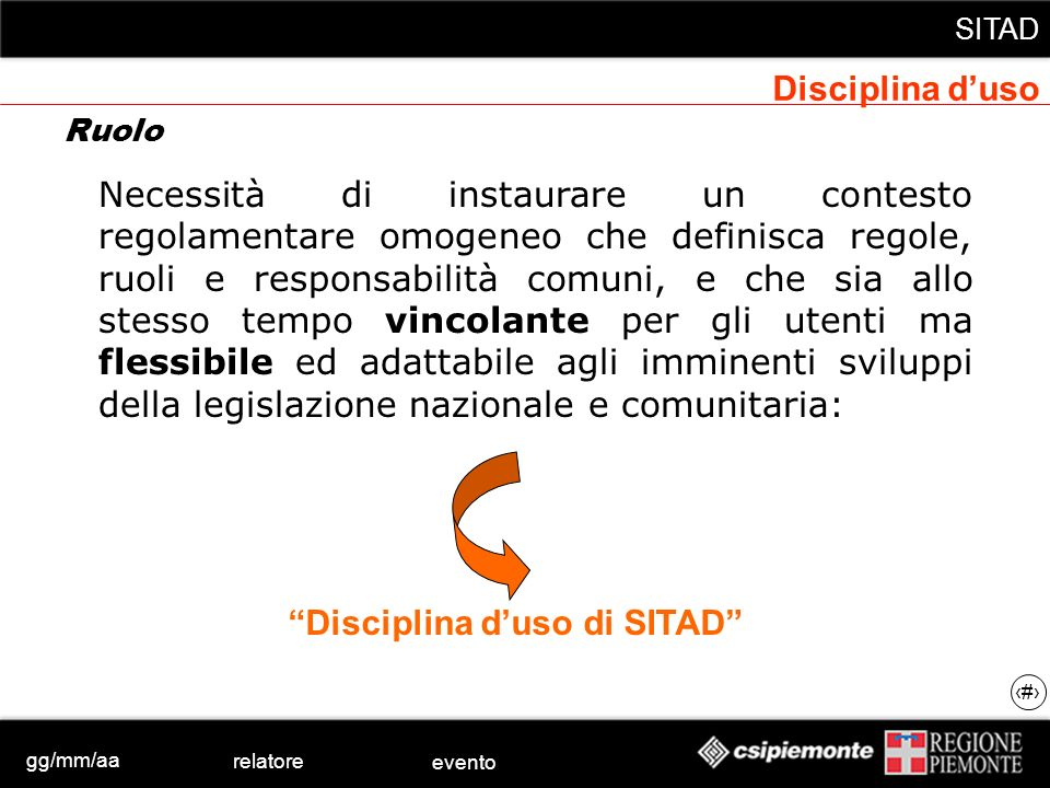 gg/mm/aa relatore evento SITAD 12 Ruolo Necessità di instaurare un contesto regolamentare omogeneo che definisca regole, ruoli e responsabilità comuni