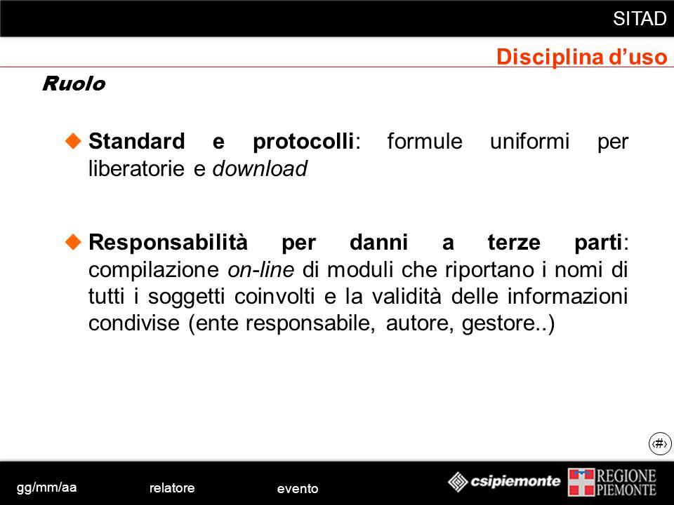 gg/mm/aa relatore evento SITAD 14 Standard e protocolli: formule uniformi per liberatorie e download Responsabilità per danni a terze parti: compilazi