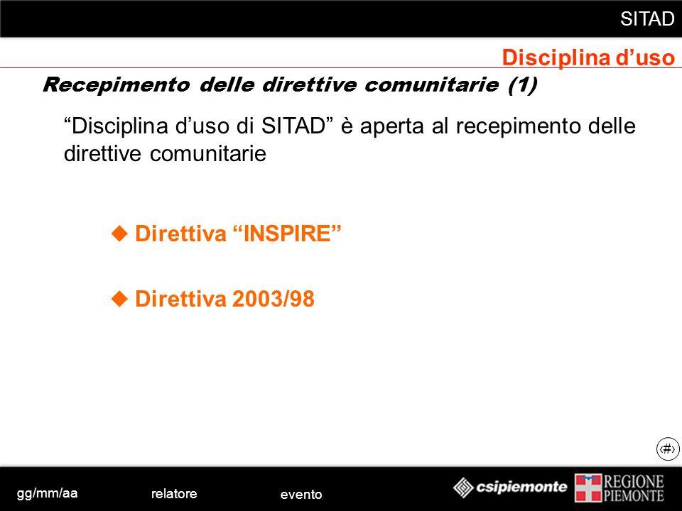 gg/mm/aa relatore evento SITAD 15 Disciplina duso di SITAD è aperta al recepimento delle direttive comunitarie Direttiva INSPIRE Direttiva 2003/98 Dis