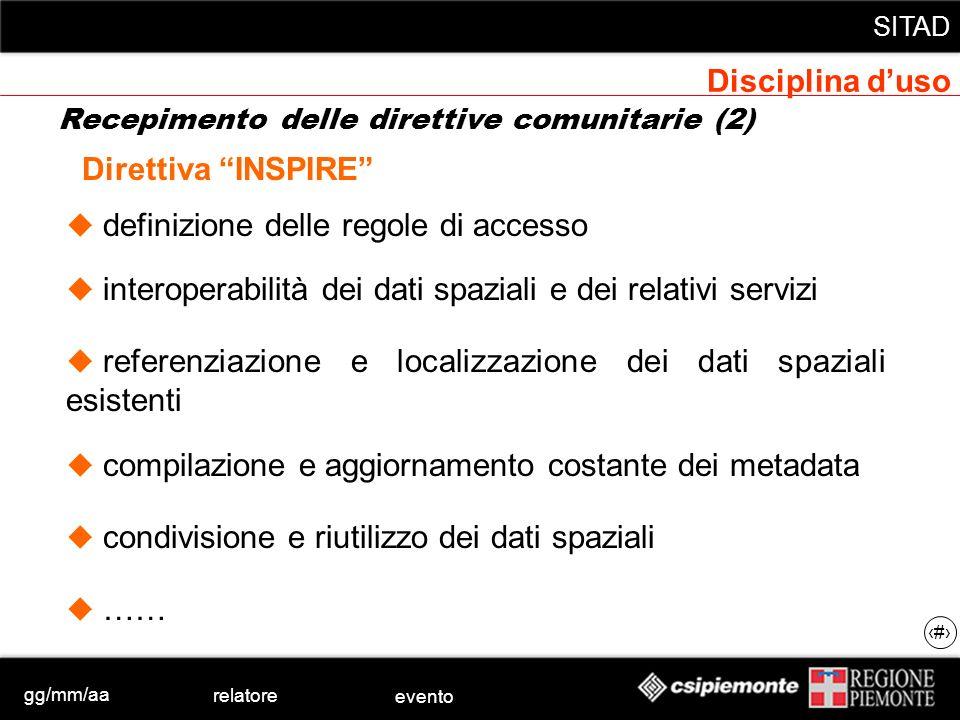 gg/mm/aa relatore evento SITAD 16 definizione delle regole di accesso Direttiva INSPIRE interoperabilità dei dati spaziali e dei relativi servizi refe
