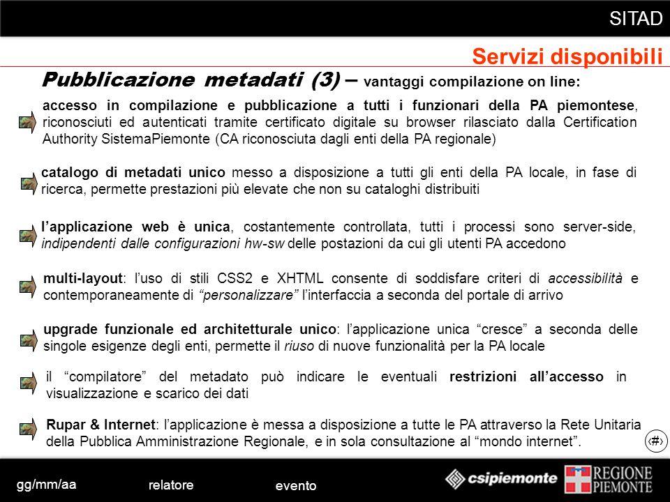 gg/mm/aa relatore evento SITAD 21 catalogo di metadati unico messo a disposizione a tutti gli enti della PA locale, in fase di ricerca, permette prest