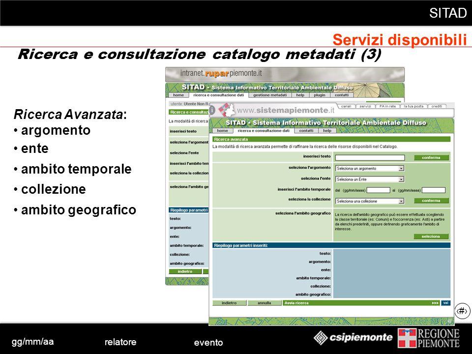 gg/mm/aa relatore evento SITAD 27 Ricerca Avanzata: argomento ente ambito temporale collezione ambito geografico Ricerca e consultazione catalogo meta