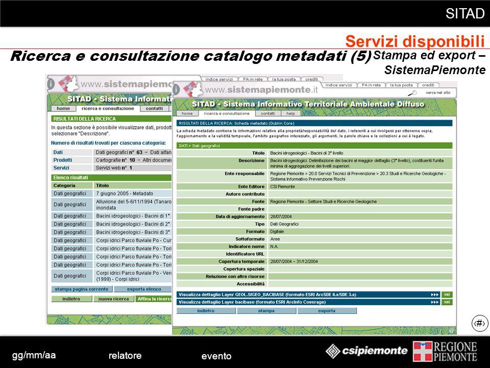 gg/mm/aa relatore evento SITAD 29 Stampa ed export – SistemaPiemonte Ricerca e consultazione catalogo metadati (5) Servizi disponibili