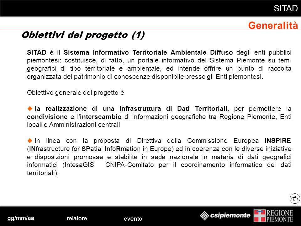 gg/mm/aa relatore evento SITAD 3 SITAD è il Sistema Informativo Territoriale Ambientale Diffuso degli enti pubblici piemontesi: costituisce, di fatto,