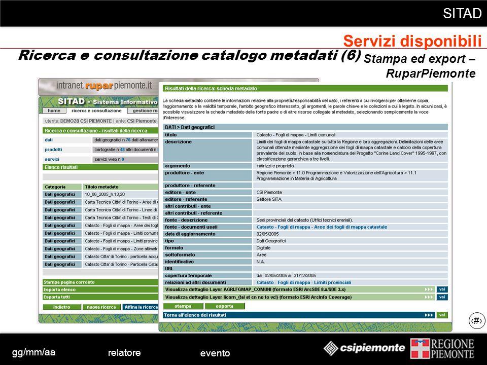 gg/mm/aa relatore evento SITAD 30 Stampa ed export – RuparPiemonte Ricerca e consultazione catalogo metadati (6) Servizi disponibili