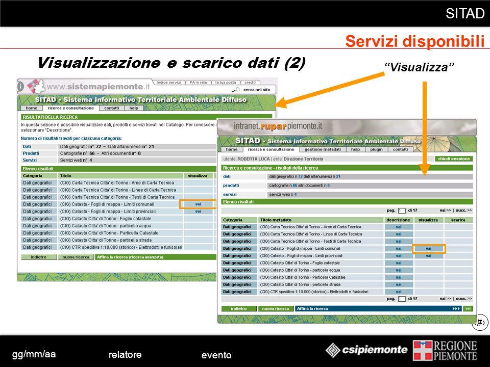 gg/mm/aa relatore evento SITAD 32 Visualizzazione e scarico dati (2) Visualizza Servizi disponibili