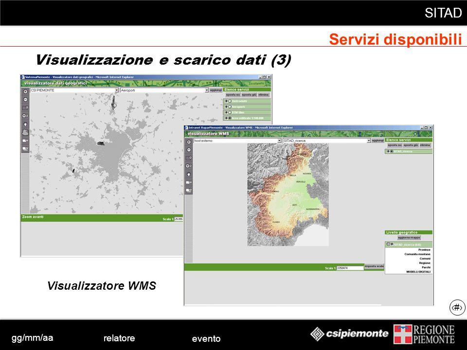 gg/mm/aa relatore evento SITAD 33 Visualizzazione e scarico dati (3) Visualizzatore WMS Servizi disponibili