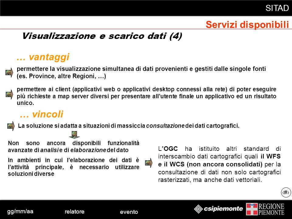 gg/mm/aa relatore evento SITAD 34 permettere la visualizzazione simultanea di dati provenienti e gestiti dalle singole fonti (es. Province, altre Regi