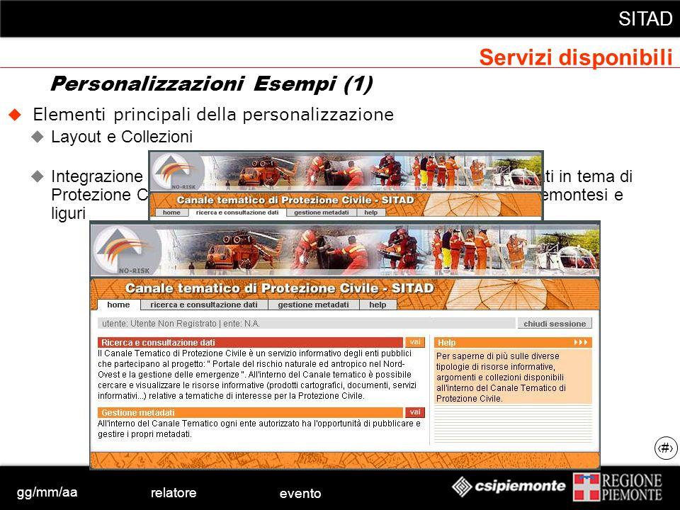 gg/mm/aa relatore evento SITAD 38 Elementi principali della personalizzazione Layout e Collezioni Integrazione nel portale NO Risk per la ricerca e co