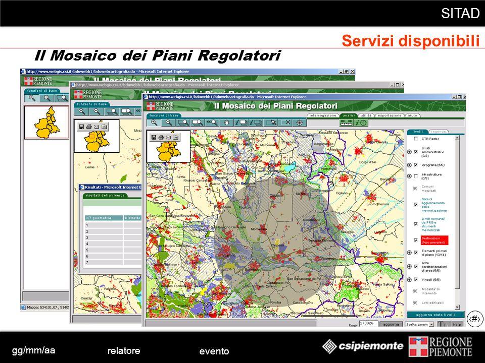 gg/mm/aa relatore evento SITAD 42 Il Mosaico dei Piani Regolatori Servizi disponibili