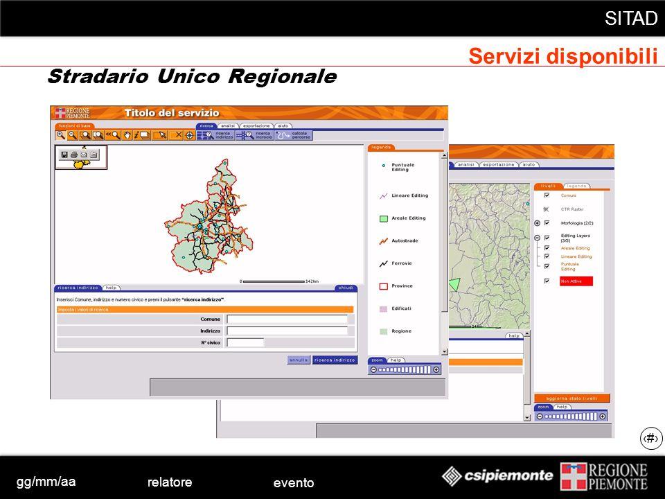 gg/mm/aa relatore evento SITAD 43 Stradario Unico Regionale Servizi disponibili