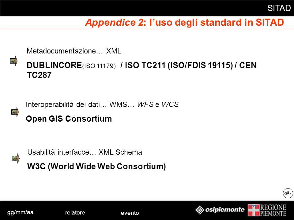 gg/mm/aa relatore evento SITAD 47 Appendice 2: luso degli standard in SITAD Metadocumentazione… XML DUBLINCORE (ISO 11179) / ISO TC211 (ISO/FDIS 19115