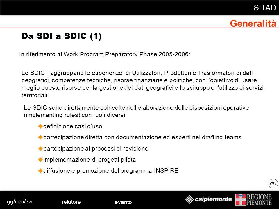 gg/mm/aa relatore evento SITAD 6 In riferimento al Work Program Preparatory Phase 2005-2006: Da SDI a SDIC (1) Le SDIC raggruppano le esperienze di Ut