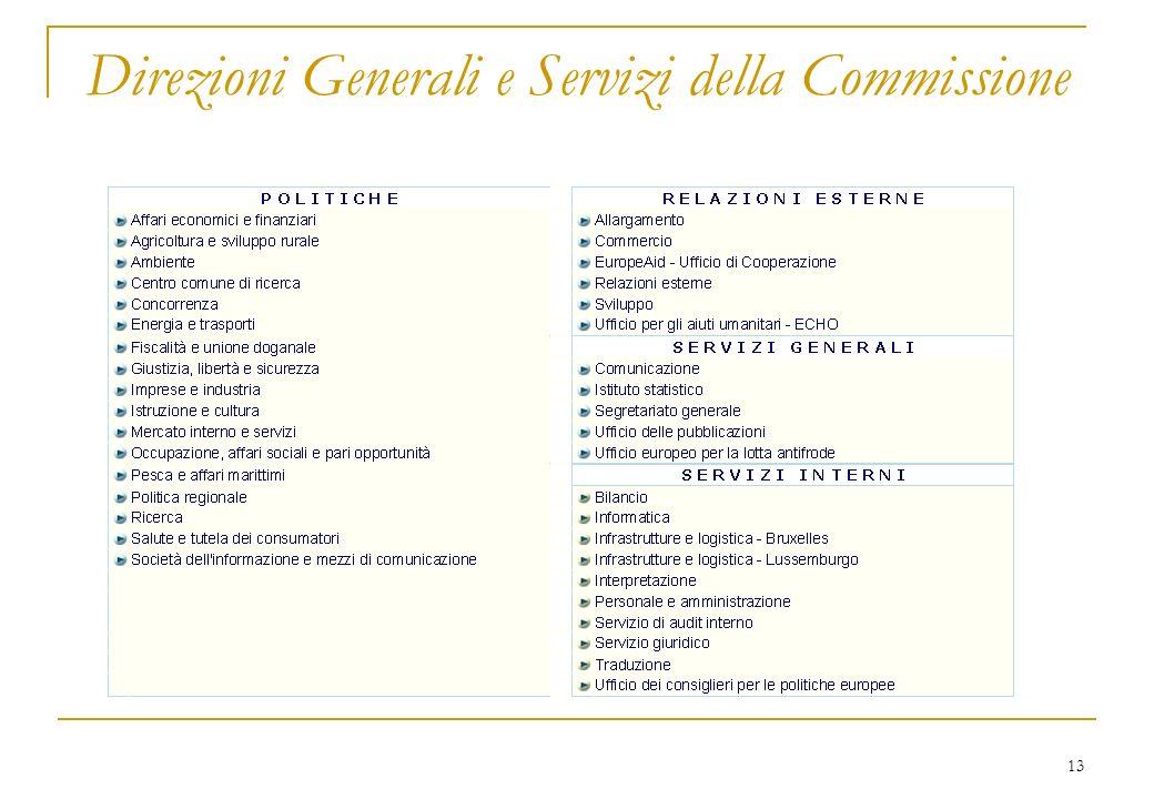 13 Direzioni Generali e Servizi della Commissione