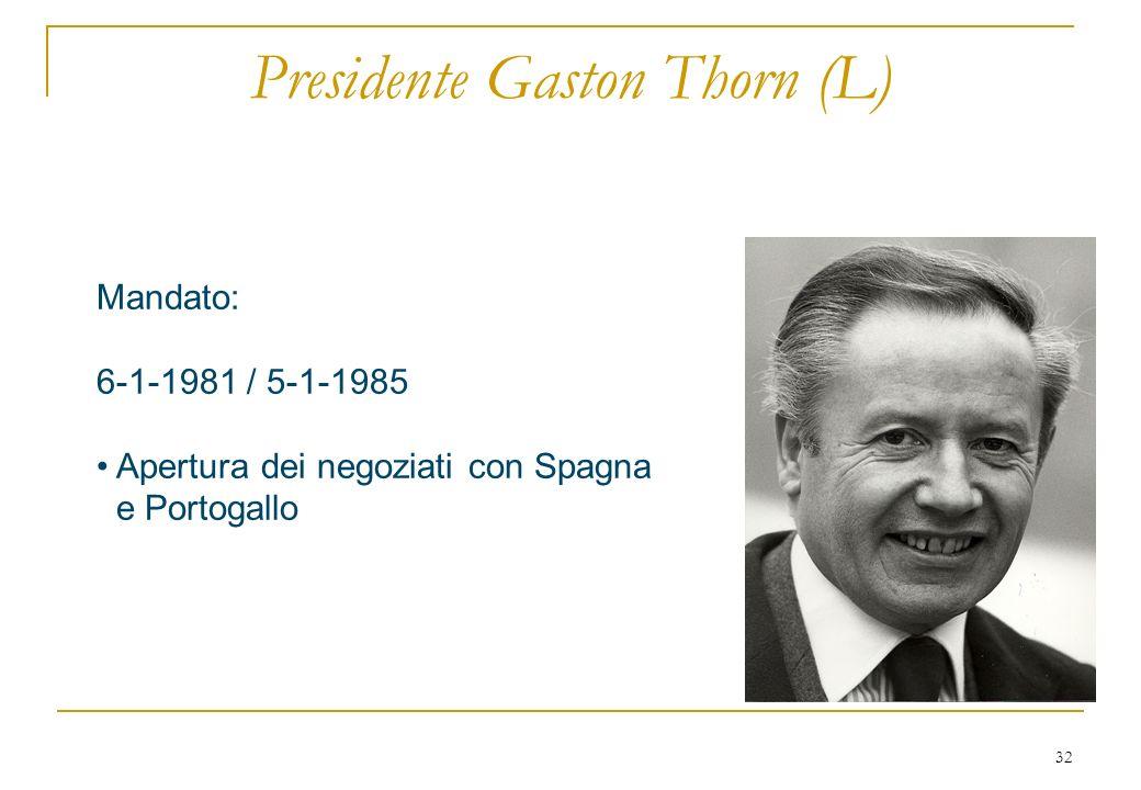 32 Presidente Gaston Thorn (L) Mandato: 6-1-1981 / 5-1-1985 Apertura dei negoziati con Spagna e Portogallo