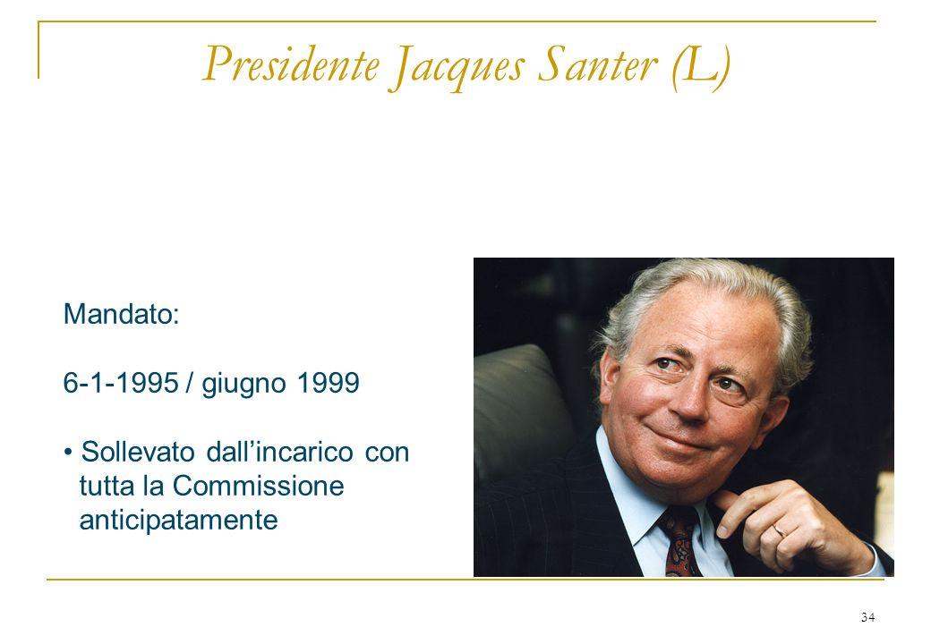 34 Presidente Jacques Santer (L) Mandato: 6-1-1995 / giugno 1999 Sollevato dallincarico con tutta la Commissione anticipatamente