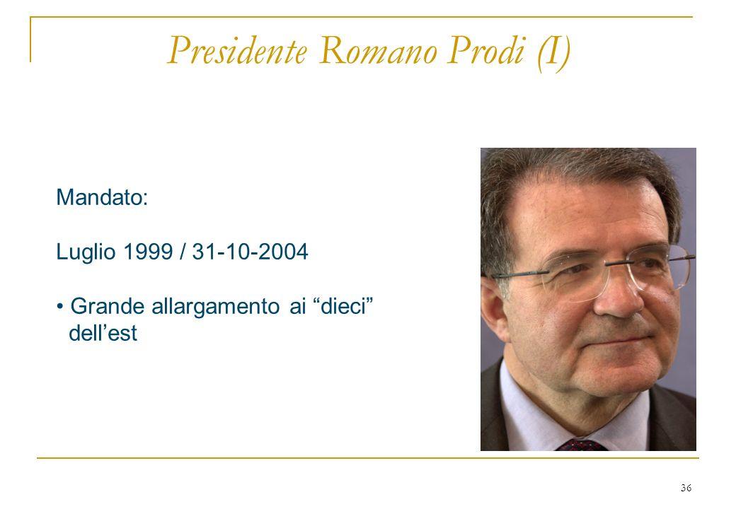 36 Presidente Romano Prodi (I) Mandato: Luglio 1999 / 31-10-2004 Grande allargamento ai dieci dellest