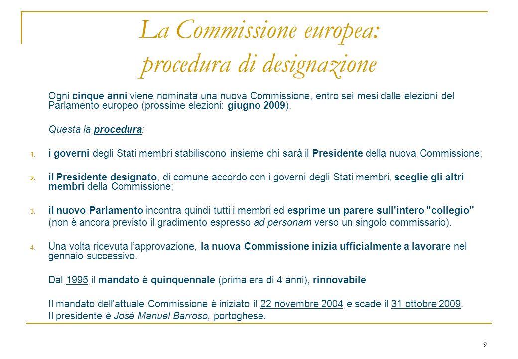 9 La Commissione europea: procedura di designazione Ogni cinque anni viene nominata una nuova Commissione, entro sei mesi dalle elezioni del Parlamento europeo (prossime elezioni: giugno 2009).