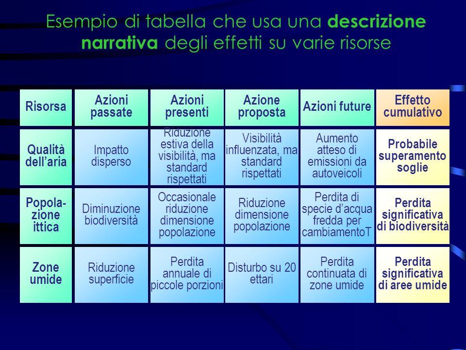 Esempio di tabella che usa una descrizione narrativa degli effetti su varie risorse Risorsa Azioni passate Azioni presenti Azione proposta Azioni futu