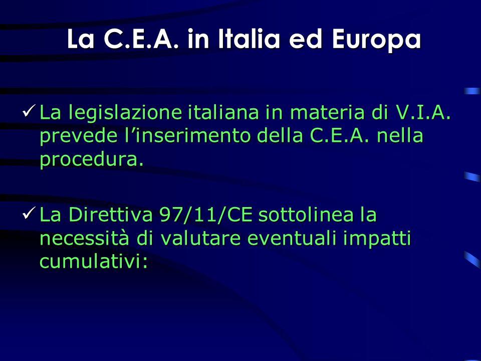 La C.E.A. in Italia ed Europa La legislazione italiana in materia di V.I.A. prevede linserimento della C.E.A. nella procedura. La legislazione italian