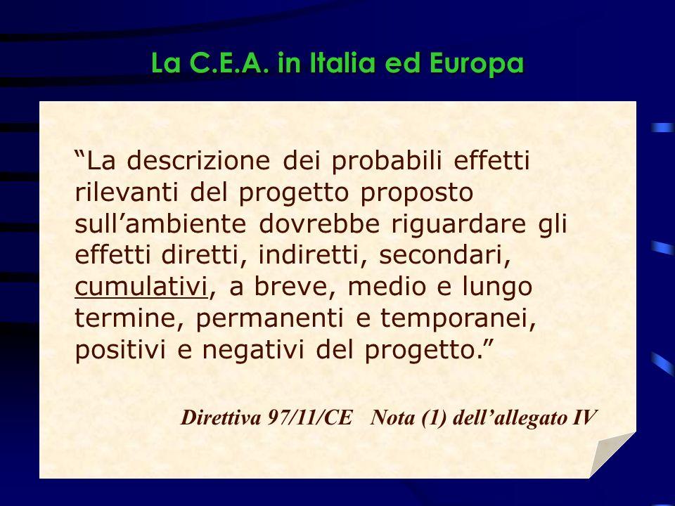 La C.E.A. in Italia ed Europa La descrizione dei probabili effetti rilevanti del progetto proposto sullambiente dovrebbe riguardare gli effetti dirett