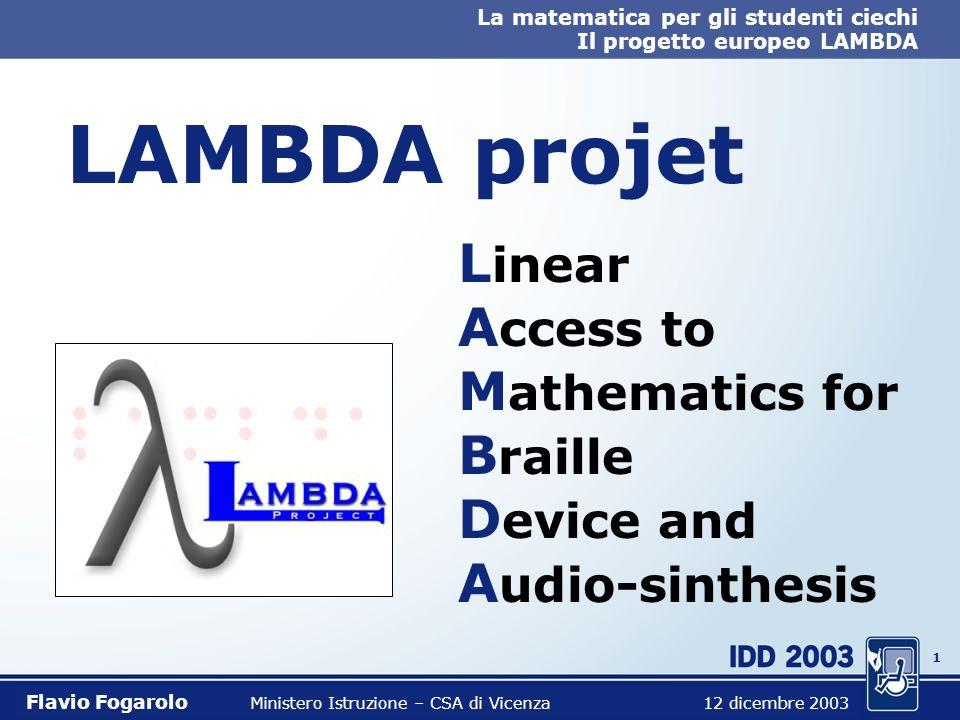 0 La matematica per gli studenti ciechi Il progetto europeo LAMBDA Flavio Fogarolo Ministero Istruzione – CSA di Vicenza 12 dicembre 2003 La matematic