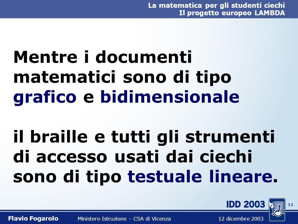 10 La matematica per gli studenti ciechi Il progetto europeo LAMBDA Flavio Fogarolo Ministero Istruzione – CSA di Vicenza 12 dicembre 2003 Ma questo f