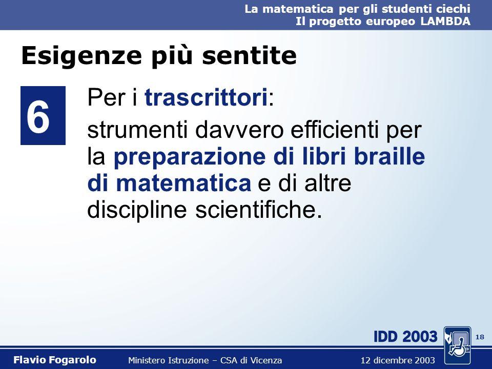 17 La matematica per gli studenti ciechi Il progetto europeo LAMBDA Flavio Fogarolo Ministero Istruzione – CSA di Vicenza 12 dicembre 2003 Esigenze pi