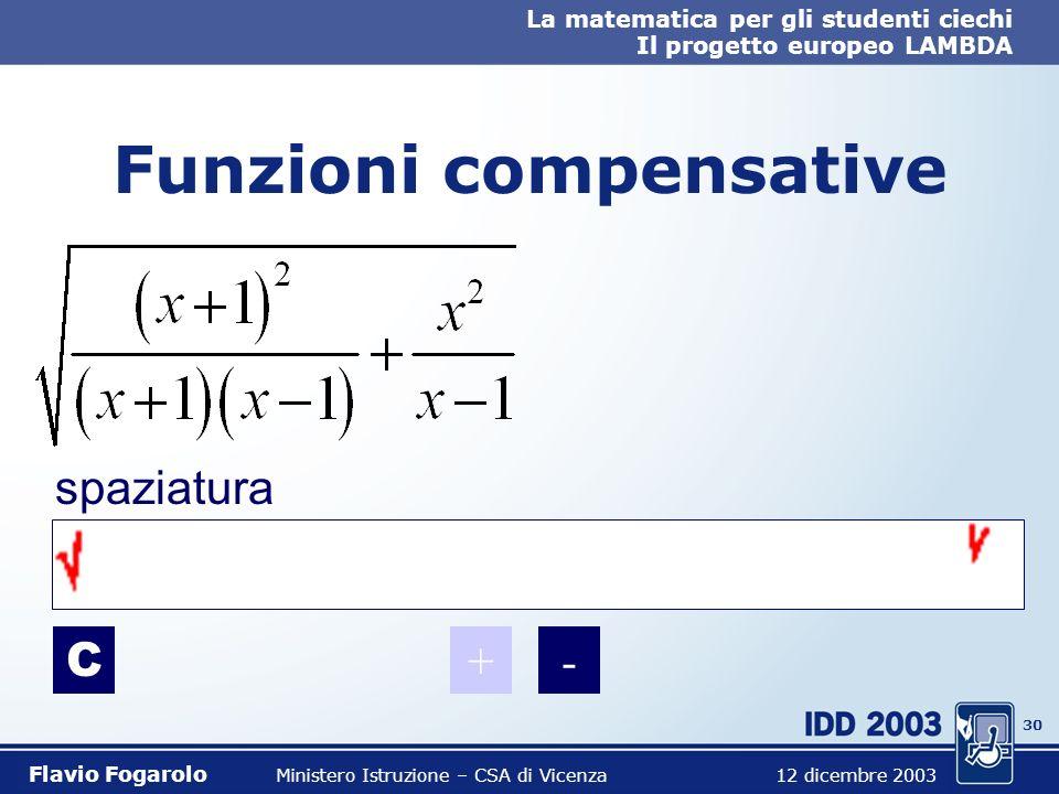 29 La matematica per gli studenti ciechi Il progetto europeo LAMBDA Flavio Fogarolo Ministero Istruzione – CSA di Vicenza 12 dicembre 2003 Funzioni co