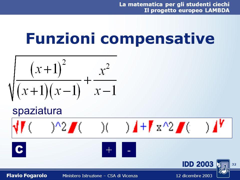 31 La matematica per gli studenti ciechi Il progetto europeo LAMBDA Flavio Fogarolo Ministero Istruzione – CSA di Vicenza 12 dicembre 2003 Funzioni co