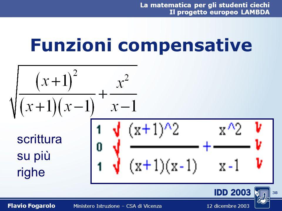 37 La matematica per gli studenti ciechi Il progetto europeo LAMBDA Flavio Fogarolo Ministero Istruzione – CSA di Vicenza 12 dicembre 2003 Funzioni co