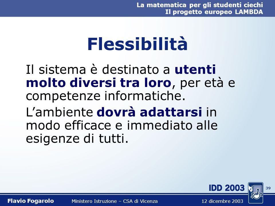 38 La matematica per gli studenti ciechi Il progetto europeo LAMBDA Flavio Fogarolo Ministero Istruzione – CSA di Vicenza 12 dicembre 2003 Funzioni co