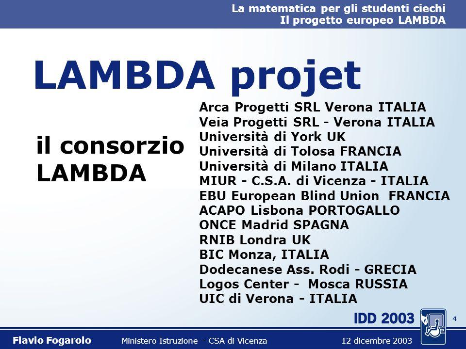 24 La matematica per gli studenti ciechi Il progetto europeo LAMBDA Flavio Fogarolo Ministero Istruzione – CSA di Vicenza 12 dicembre 2003 Tex, LaTeX, Mathtype (Word), Mathematica etc.