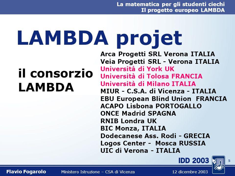25 La matematica per gli studenti ciechi Il progetto europeo LAMBDA Flavio Fogarolo Ministero Istruzione – CSA di Vicenza 12 dicembre 2003 Tex, LaTeX, Mathtype (Word), Mathematica etc.