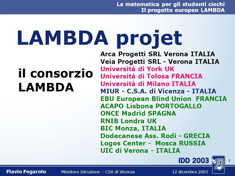 6 La matematica per gli studenti ciechi Il progetto europeo LAMBDA Flavio Fogarolo Ministero Istruzione – CSA di Vicenza 12 dicembre 2003 LAMBDA proje