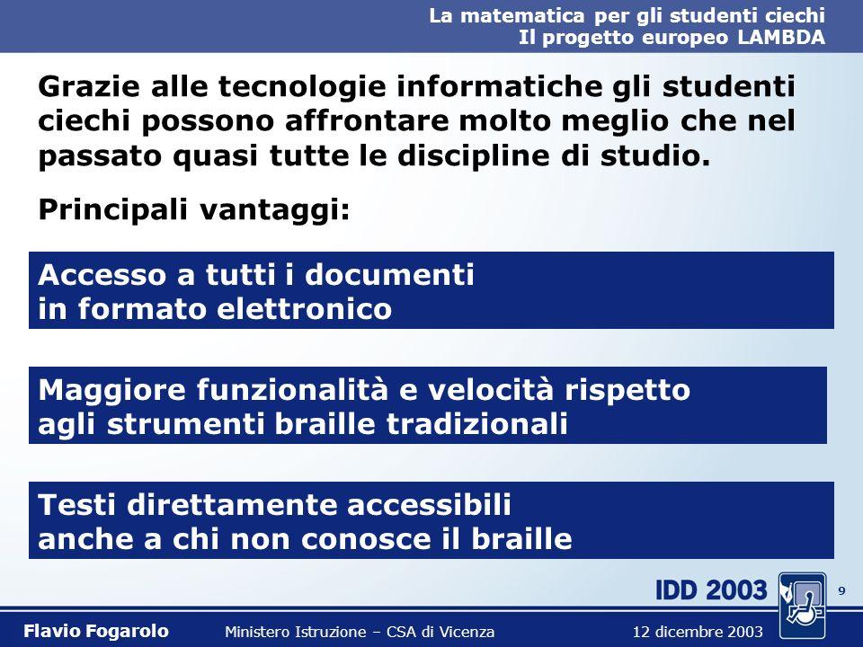 29 La matematica per gli studenti ciechi Il progetto europeo LAMBDA Flavio Fogarolo Ministero Istruzione – CSA di Vicenza 12 dicembre 2003 Funzioni compensative