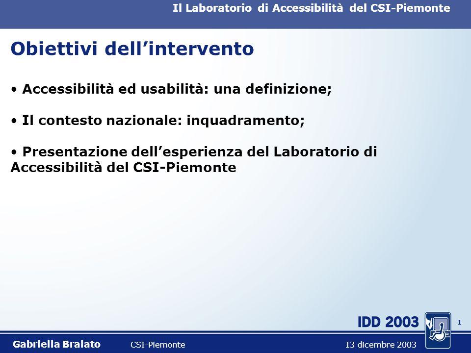 0 Iniziative legate allaccessibilità di Siti Web: il Laboratorio del CSI-Piemonte Gabriella Braiato CSI-Piemonte