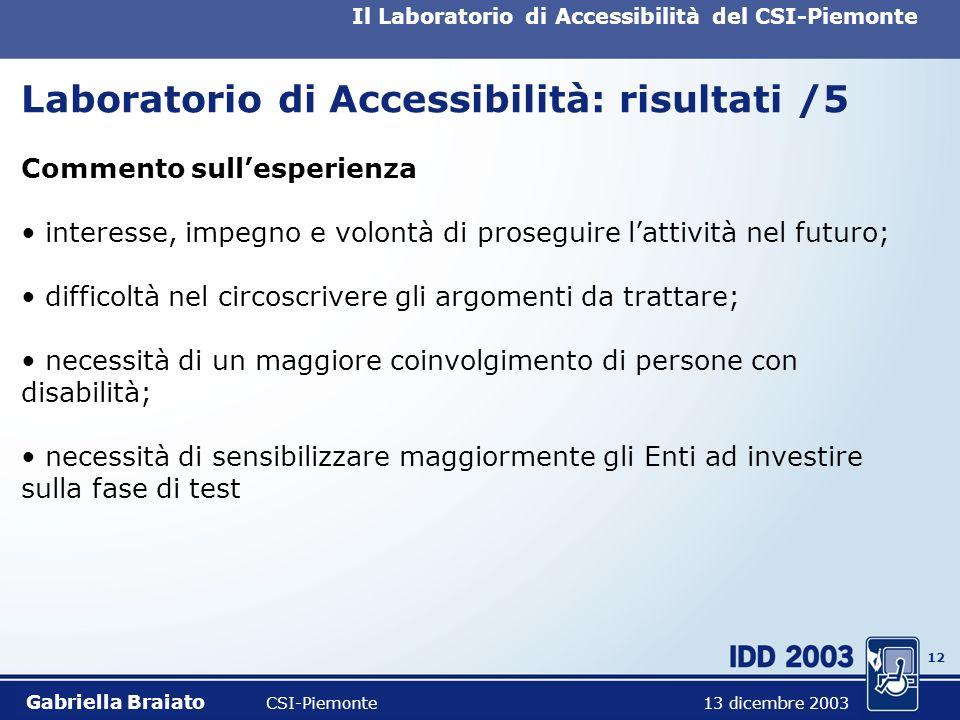 11 Il Laboratorio di Accessibilità del CSI-Piemonte Laboratorio di Accessibilità: risultati /4 Metodologia di test produzione di un documento di anali