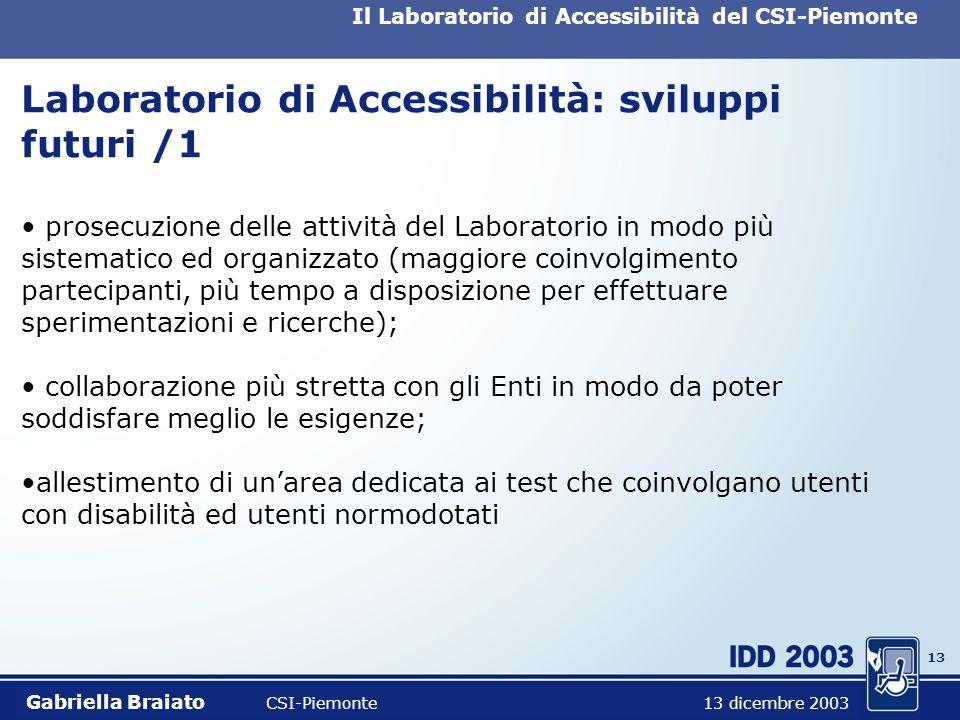 12 Il Laboratorio di Accessibilità del CSI-Piemonte Laboratorio di Accessibilità: risultati /5 Commento sullesperienza interesse, impegno e volontà di