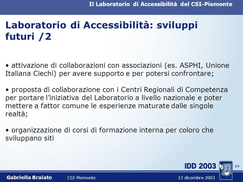 13 Il Laboratorio di Accessibilità del CSI-Piemonte Laboratorio di Accessibilità: sviluppi futuri /1 prosecuzione delle attività del Laboratorio in mo