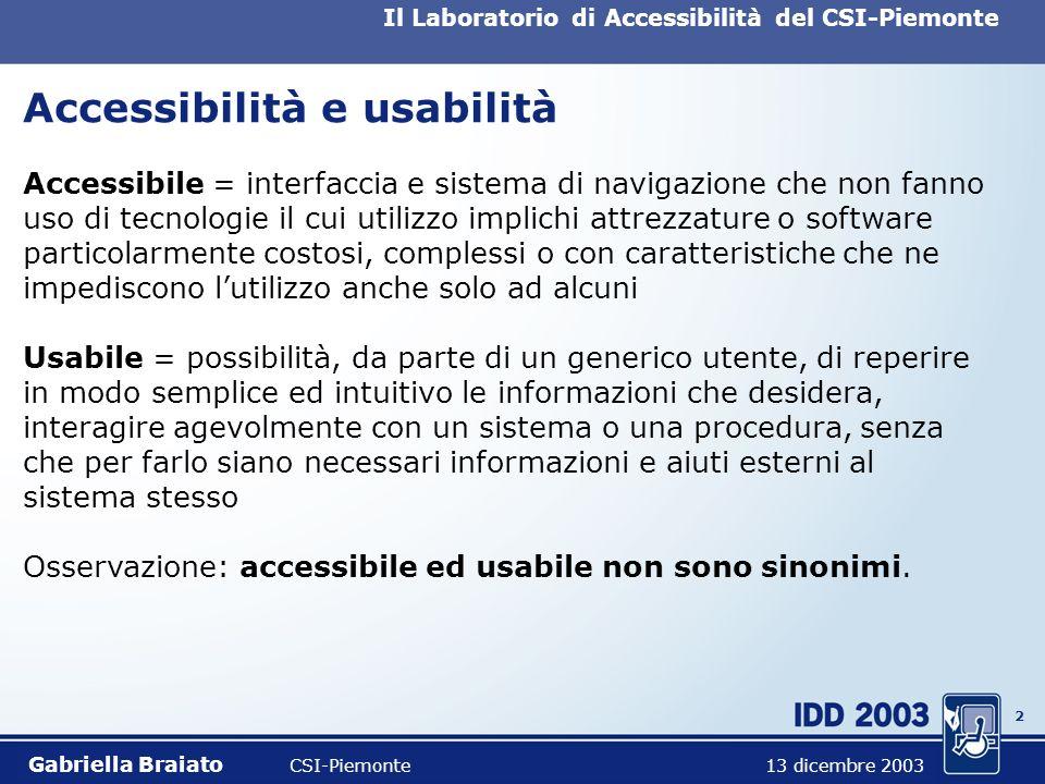 1 Il Laboratorio di Accessibilità del CSI-Piemonte Obiettivi dellintervento Accessibilità ed usabilità: una definizione; Il contesto nazionale: inquad