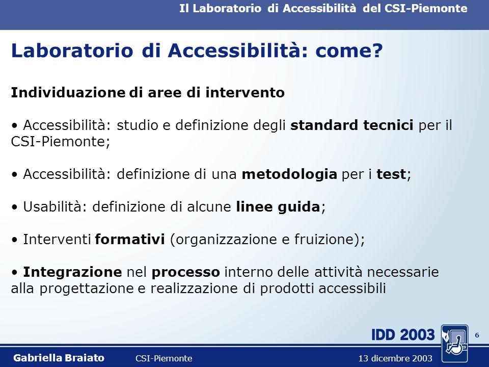 5 Il Laboratorio di Accessibilità del CSI-Piemonte Laboratorio di Accessibilità: cosè Progetto di investimento del CSI-Piemonte partecipazione del CSP