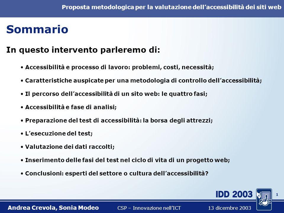 0 Proposta metodologica per la valutazione dellaccessibilità dei siti web Andrea Crevola, Sonia Modeo CSP – Innovazione nellICT